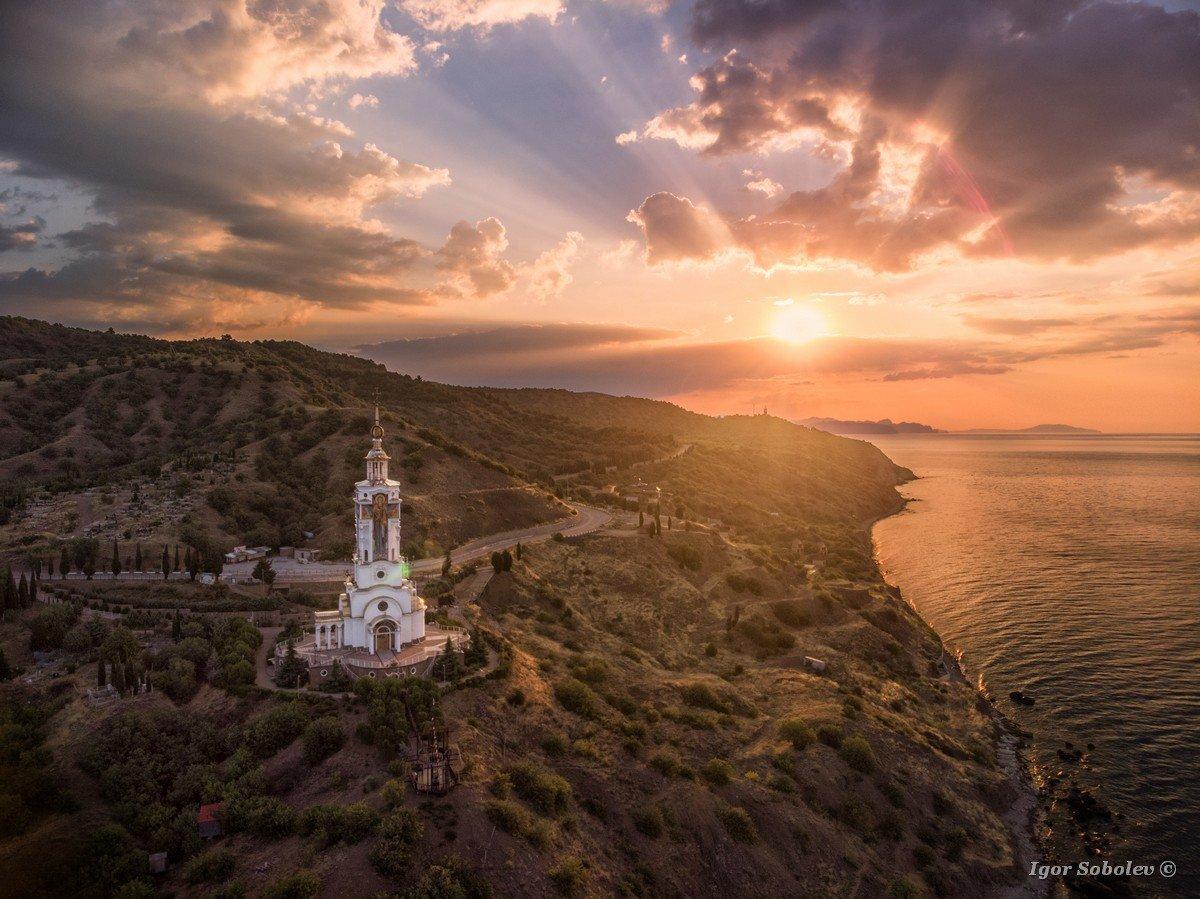 Temple Lighthouse of St. Nicholas the Mirlikisky, aero view