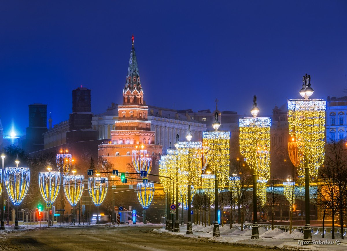 View of the Moscow Kremlin with New Year's illumination