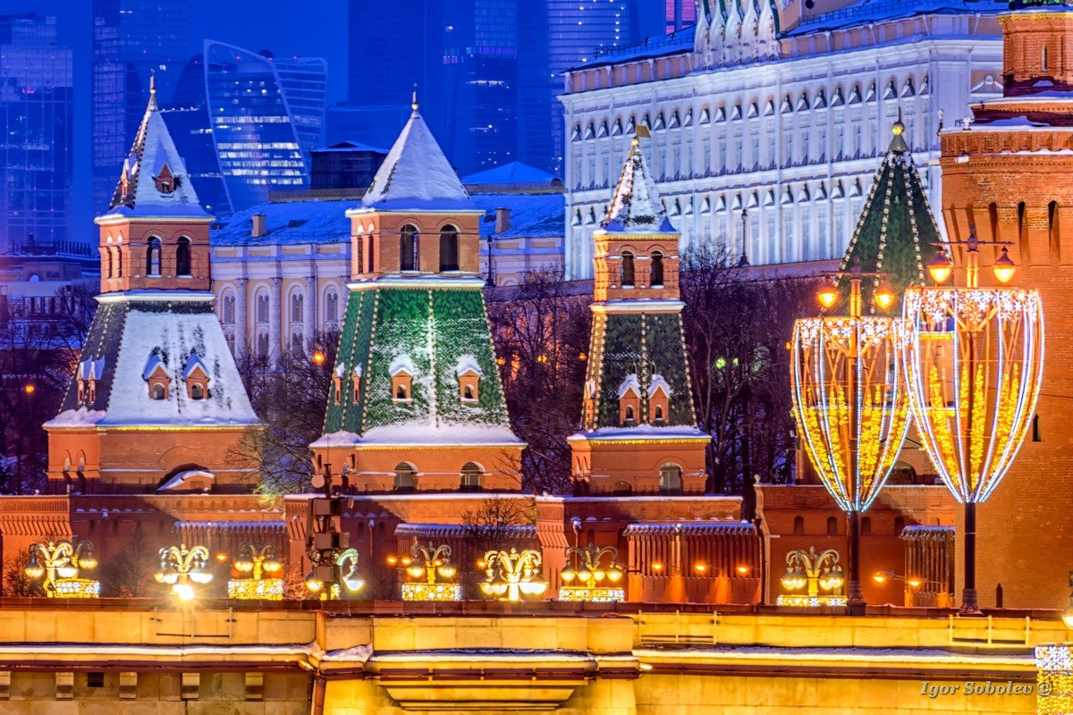 Towers of the Moscow Kremlin with New Year's installations