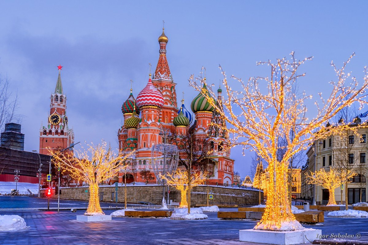 St. Basil's Cathedral and the Savior Tower in the winter morning