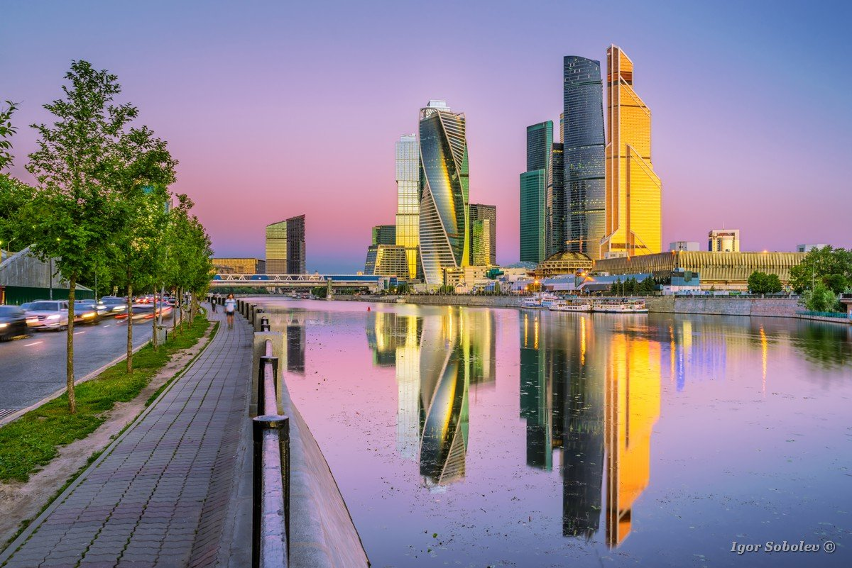 The reflection of the Moscow city in the morning