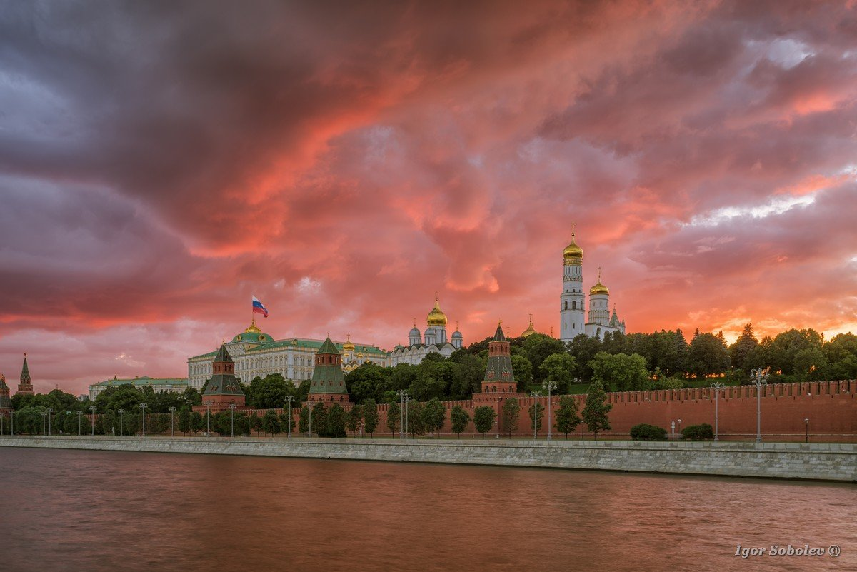 Sunset over the Moscow Kremlin
