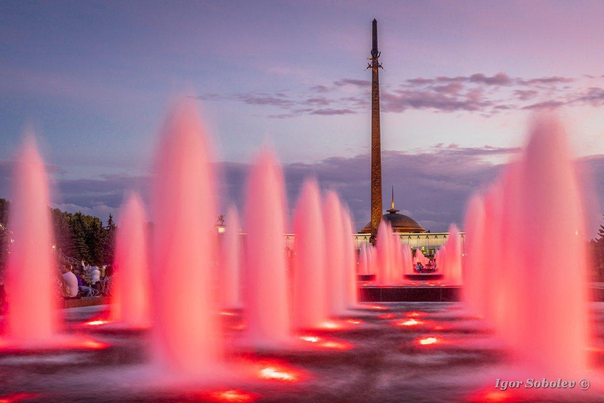 Moscow, Russia - July 28, 2019, fountains on Poklonnaya Hill