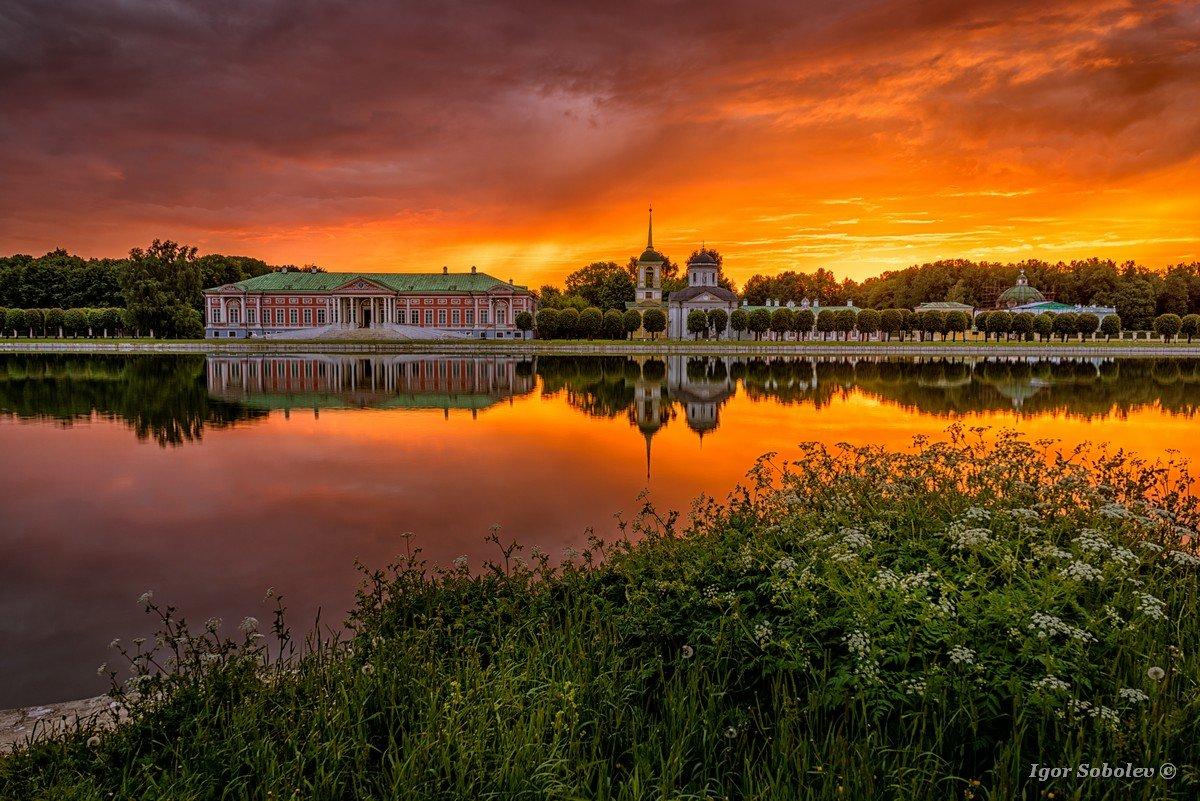 Красочный рассвет в Кусково