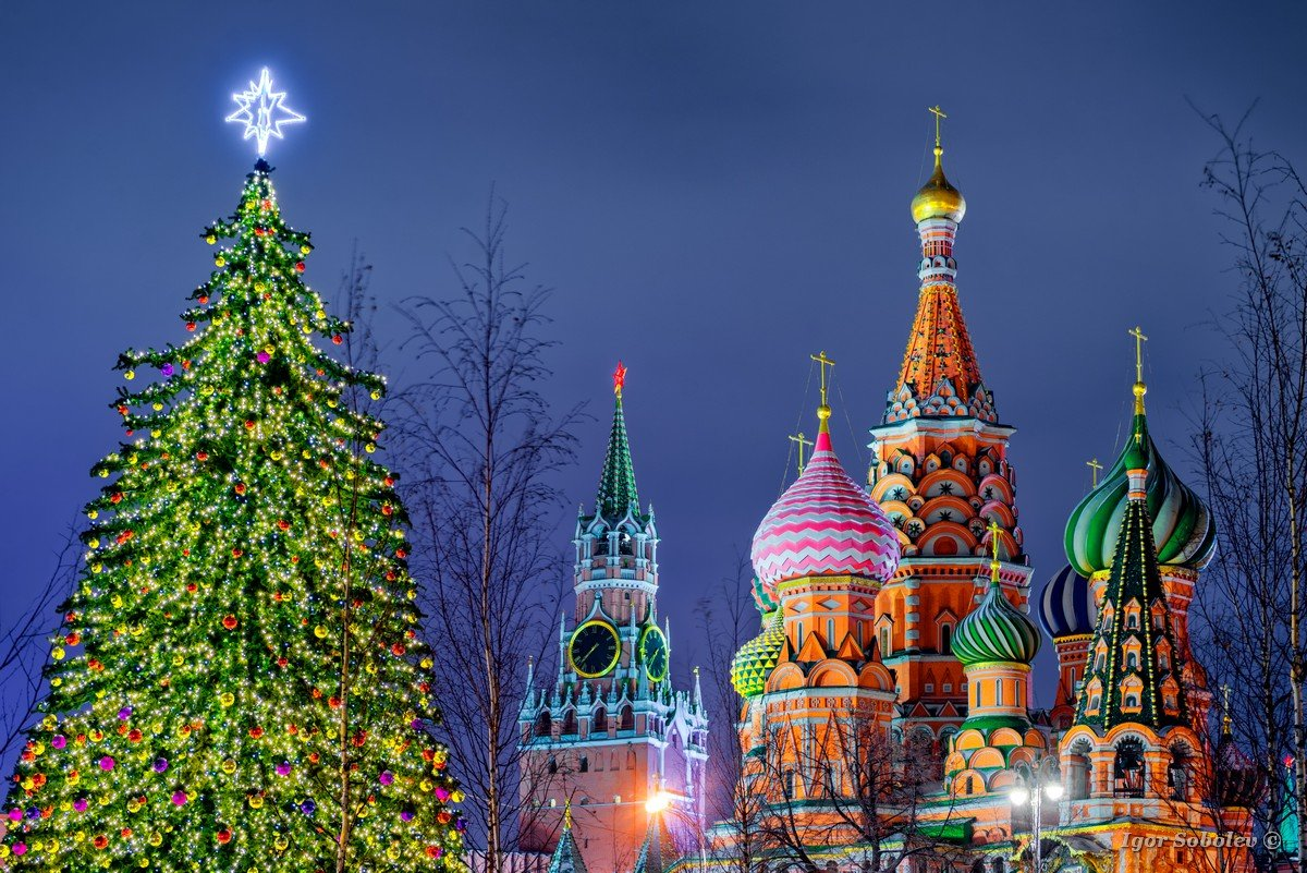 St. Basil's Cathedral, Spasskaya Tower, New Year tree
