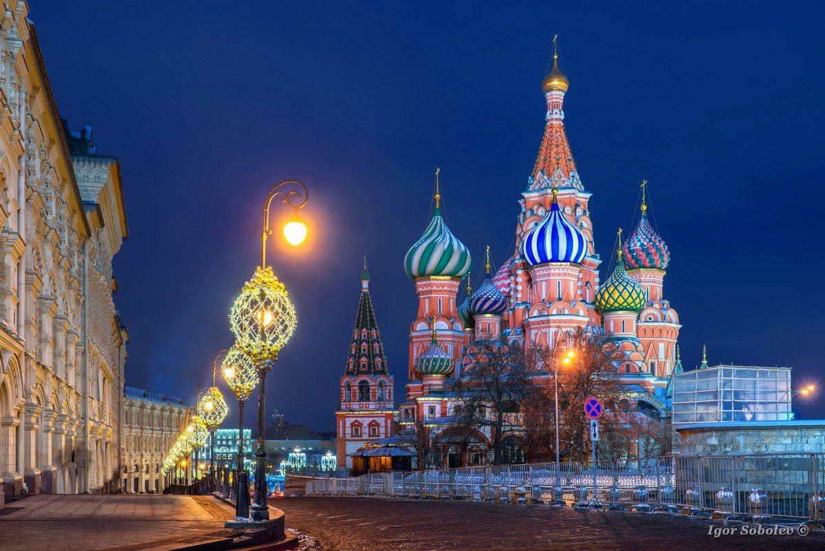 St. Basil's Cathedral with New Year's illumination in winter