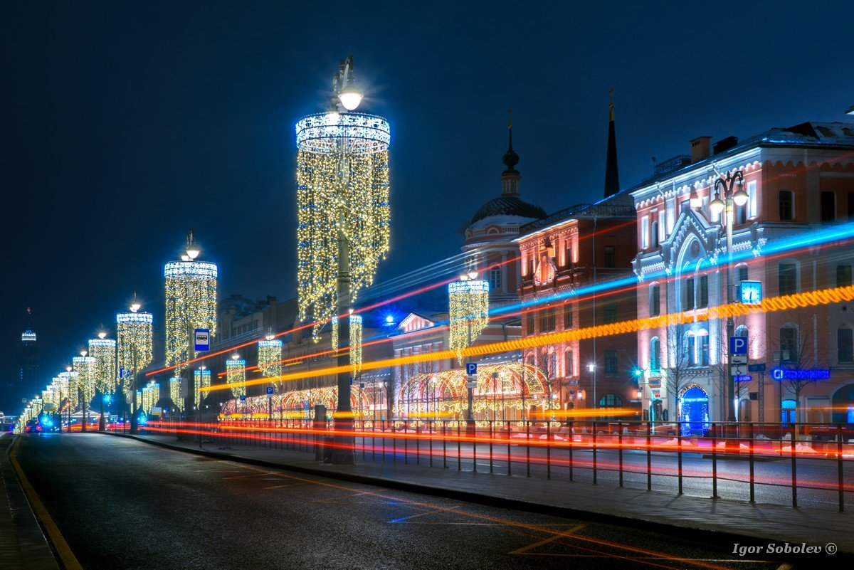 Light tracks on Lubyanka Square in Moscow