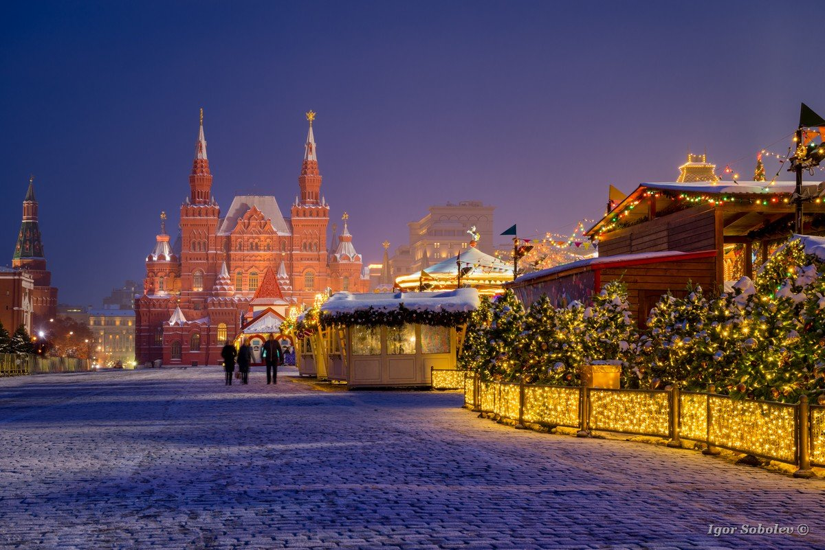 Winter night on the Red Square in Moscow