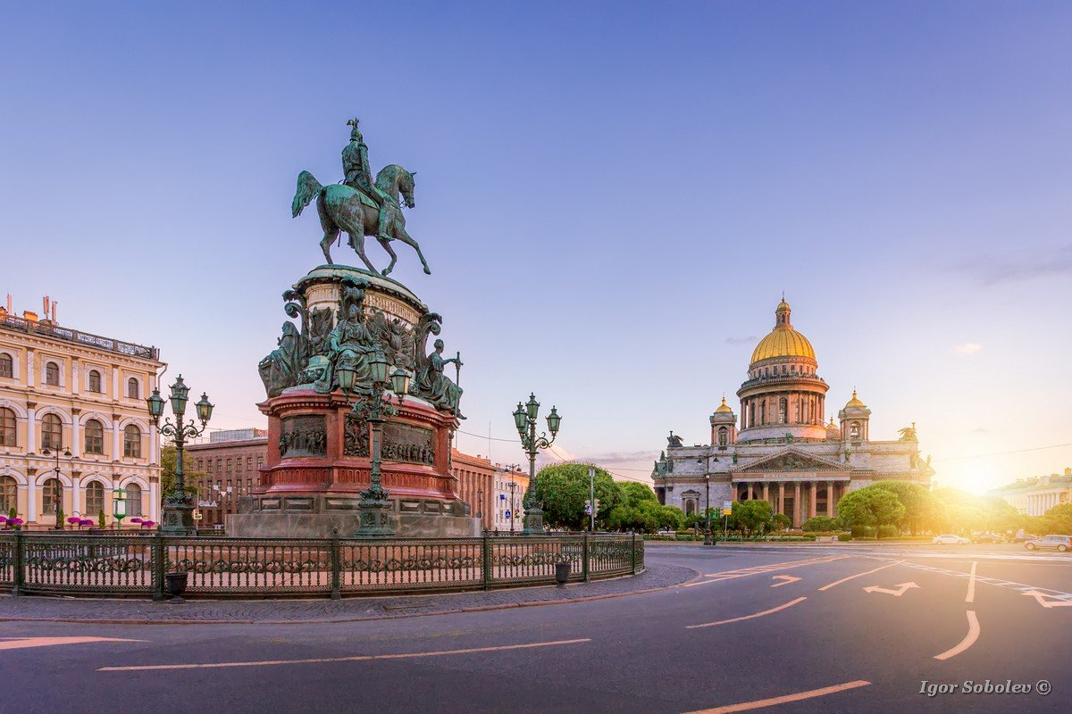 St. Isaac's Square in St. Petersburg in the morning