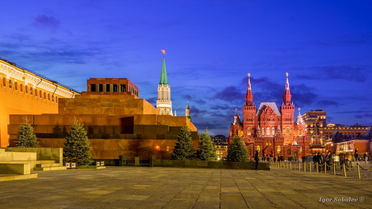 Mausoleum, Historical Museum, Nikolskaya Tower on Red Square in