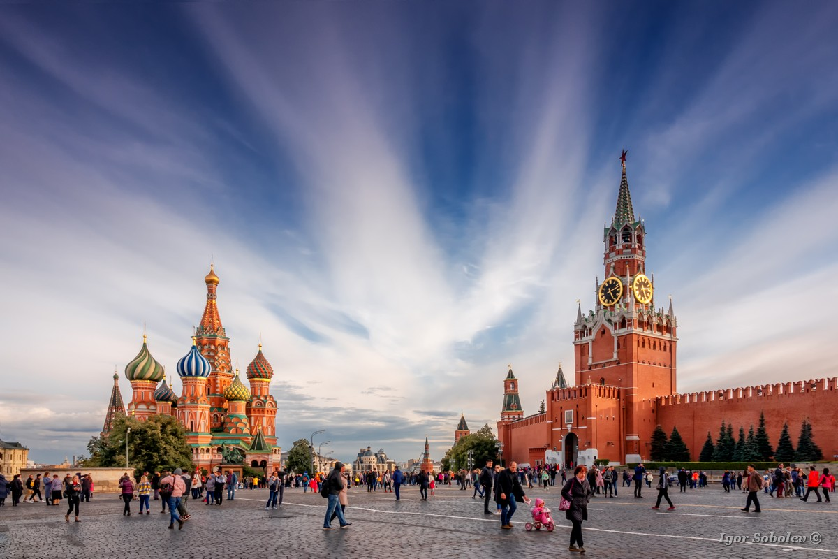 Moscow, Russia - September, 21, 2019, people walk on Red Square in Moscow