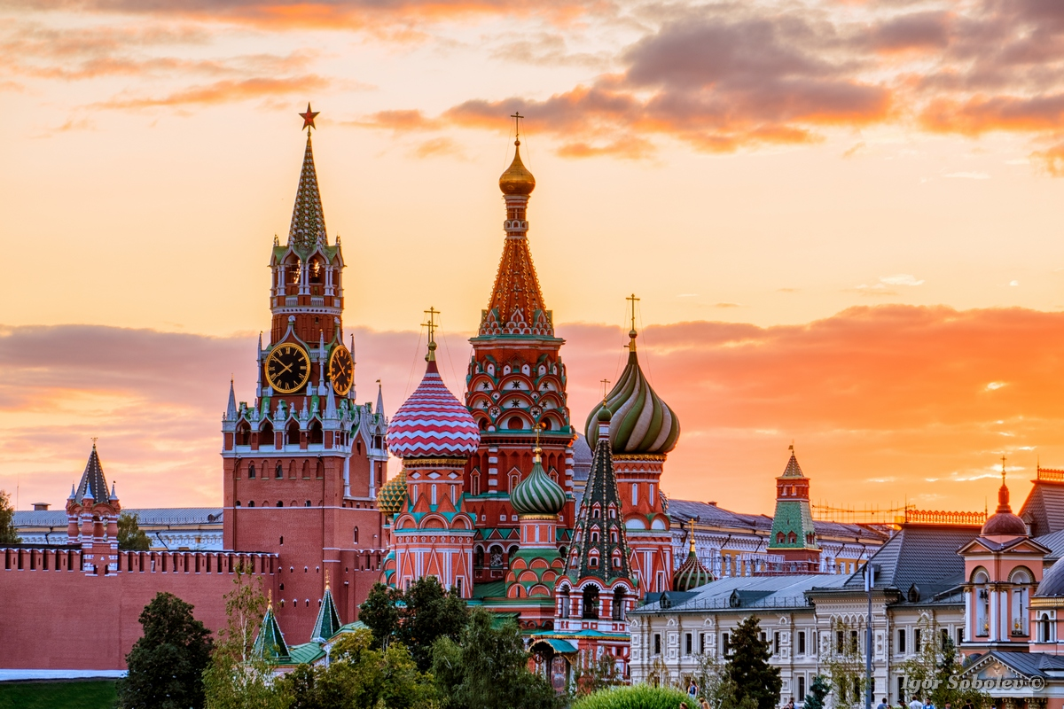 St. Basil's Cathedral and the Spassky Tower of the Moscow Kremli