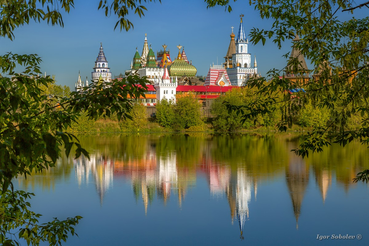 View of Izmaylovsky Kremlin through leaves