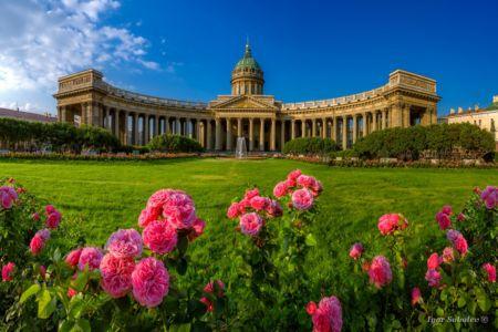 Казанский собор с розами / Kazan Cathedral with roses
