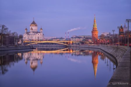 Reflection of the Cathedral of Christ the Savior and the Water Tower