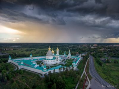 New Jerusalem Monastery in overcast weather, aerial view