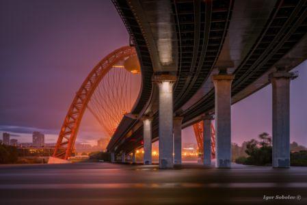 Живописный мост в Москве во время дождя
