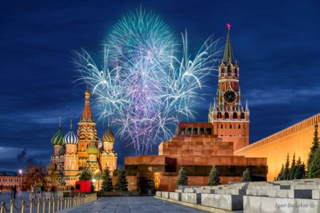 Fireworks over the Moscow Kremlin for the holiday