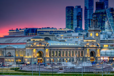 Kiev railway station in Moscow at sunset in the fall