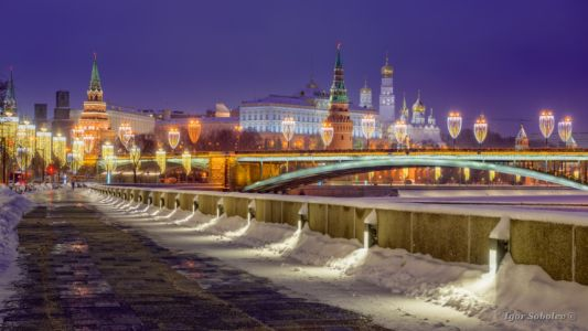 Moscow Kremlin winter night before the New Year