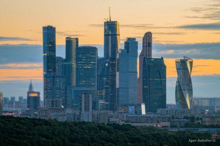 View of the complex Moscow-City from the Vorobyovy Hills at dawn