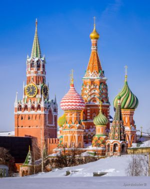 St. Basil's Cathedral and Spassky Tower in the winter
