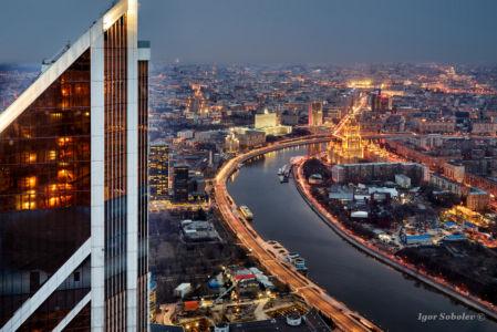 Вид на Москву из окон небоскреба