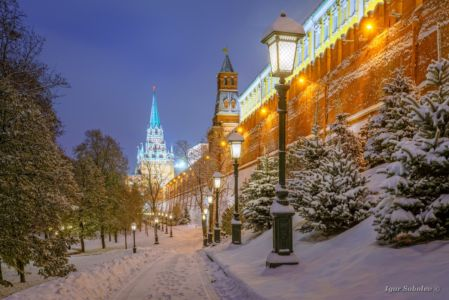 Winter evening near the walls of the Moscow Kremlin