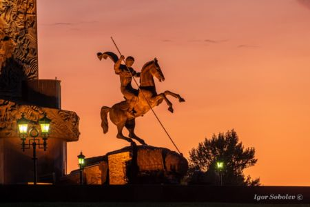Moscow, Russia - July 28, 2019, a monument to George the Victorious on Poklonnaya Hill