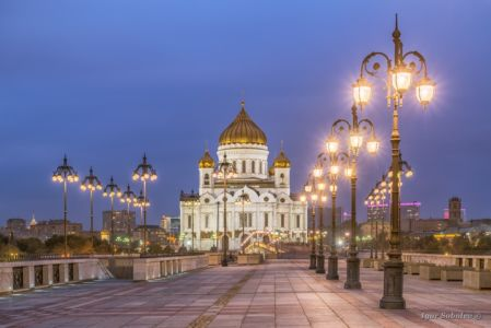 The Cathedral of Christ the Savior from the side of the Patriarchal bridge with lights included
