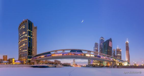 Зимний вид на Москва-сити со льда М