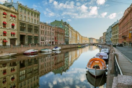 Saint-Petersburg, Russia - July 14: Morning reflection in the ri
