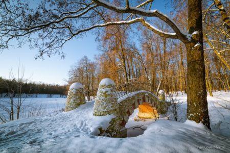 Зимний солнечный вид на мост в парк