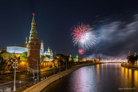 Fireworks over the Moscow Kremlin