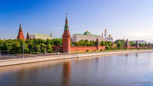 Вид на Московский кремль утром с Большого каменного моста / View of the Moscow Kremlin in the morning with Big Stone Bridge
