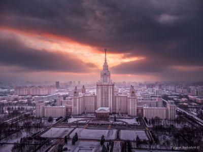 Зимний закат над МГУ