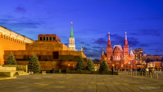 Mausoleum, Historical Museum, Nikolskaya Tower on Red Square in