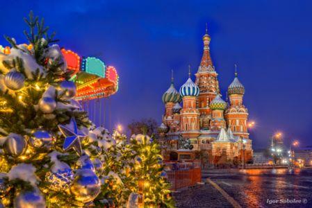 Собор Василия Блаженного ночью