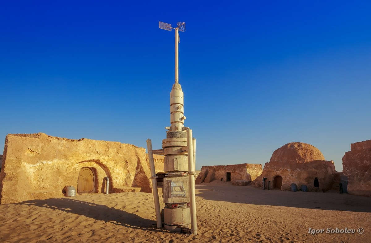 The scenery of the planet Tatooine to the film of George Lucas 'Star Wars'