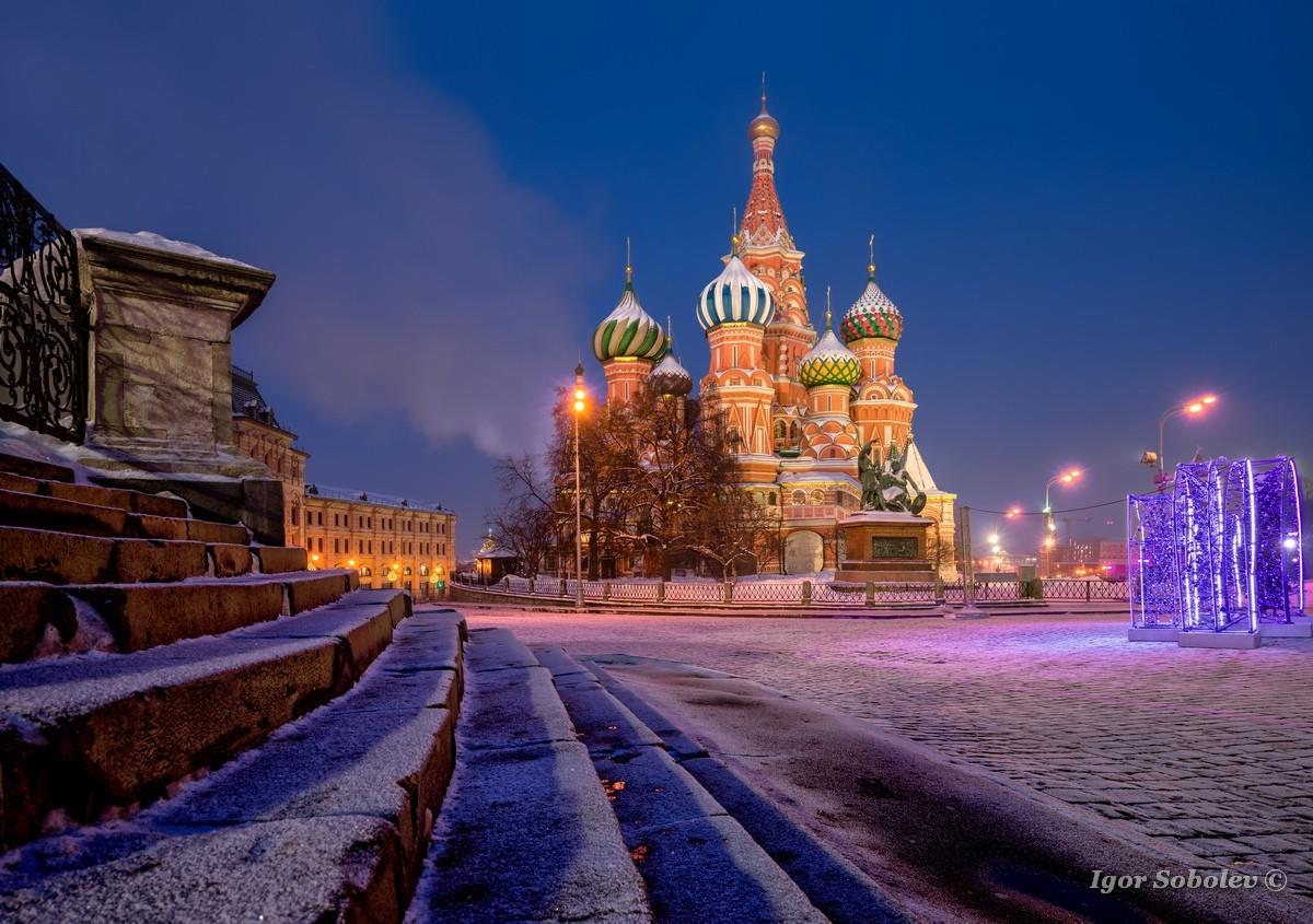 Собор Василия Блаженного зимней ночью / St. Basil's Cathedral on a winter night