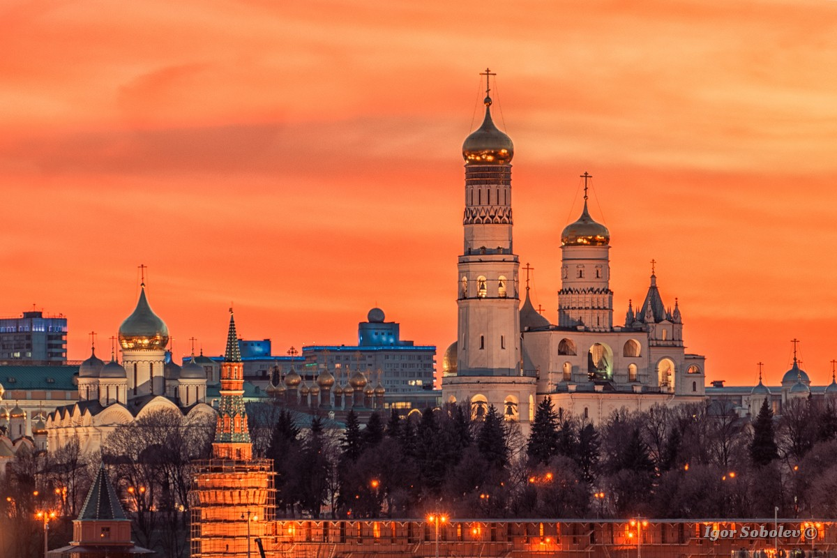 Ivan the Great Bell Tower in the Moscow Kremlin at sunset in the evening